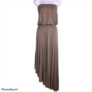 Magic Strapless Asymmetrical Slanted Maxi Dress Tiered Ruffle Mocha Taupe Small